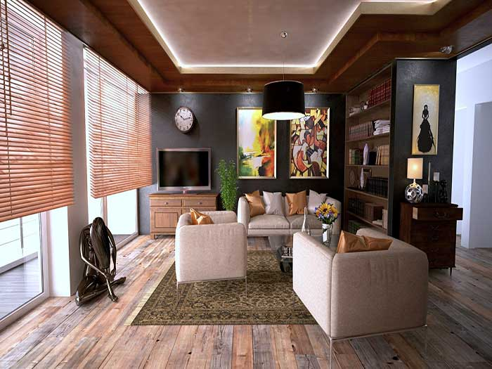 living room with sanded floor